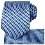 KissTies Mens Blue Tie Set Blue Ties + Pocket Square