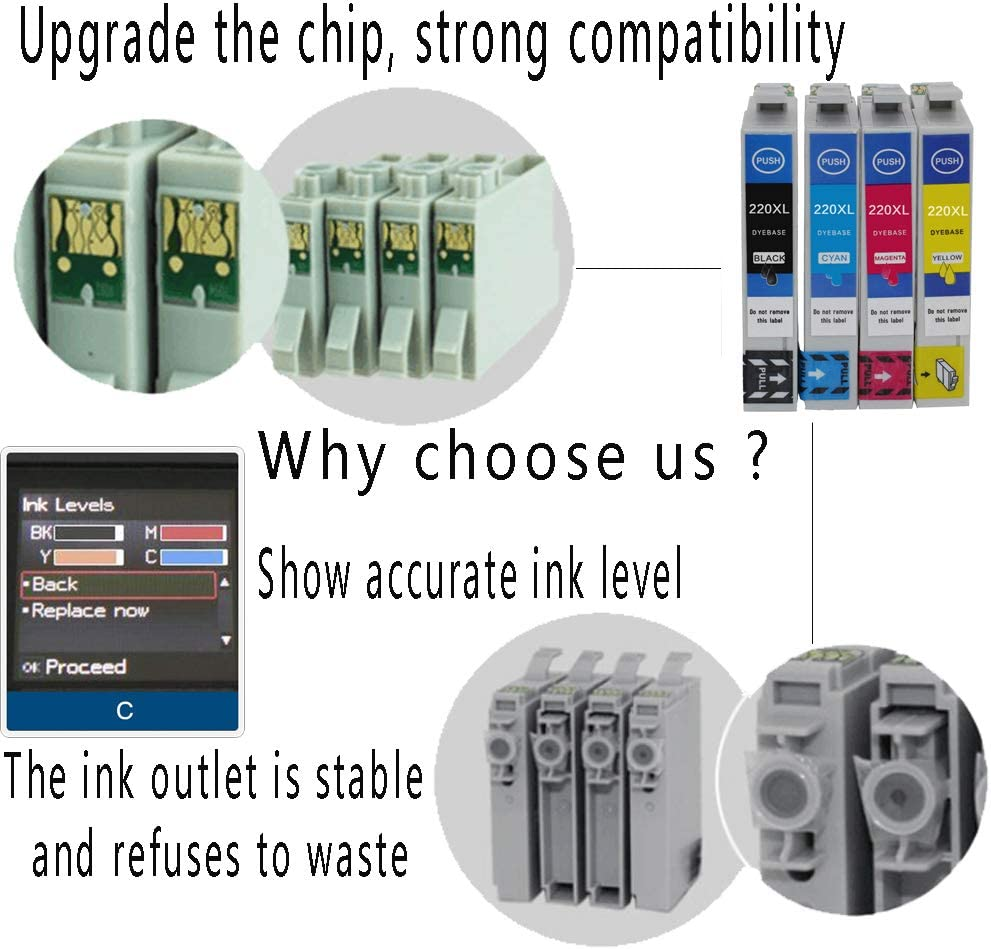 20Pack Tuobo Remanufactured Ink Cartridge Replacement for Epson 220 XL 220XL T220XL to use with WF-2760 WF-2750 WF-2630 WF-2650 WF-2660 XP-320 XP-420 XP-424 8 Black, 4 Cyan, 4 Magenta, 4 Yellow
