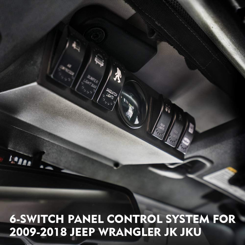 blue Jeep Wrangler JK /& JKU 2007-2018 Overhead 6-Switch Pod//Panel with Control and Source System Back Light
