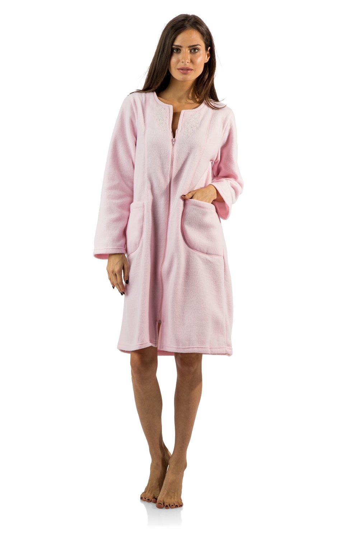 Casual Nights Women's Long Sleeve Zip Up Front Short Fleece Robe - Pink - Medium