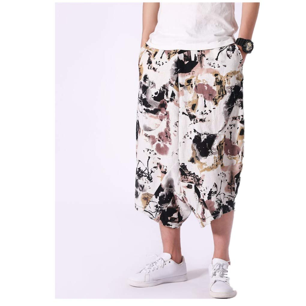 Macho Men Swimsuit Endurance Solid Crotch Harem Cotton Linen Wide-Legged Bloomers Baggy Cropped Trousers