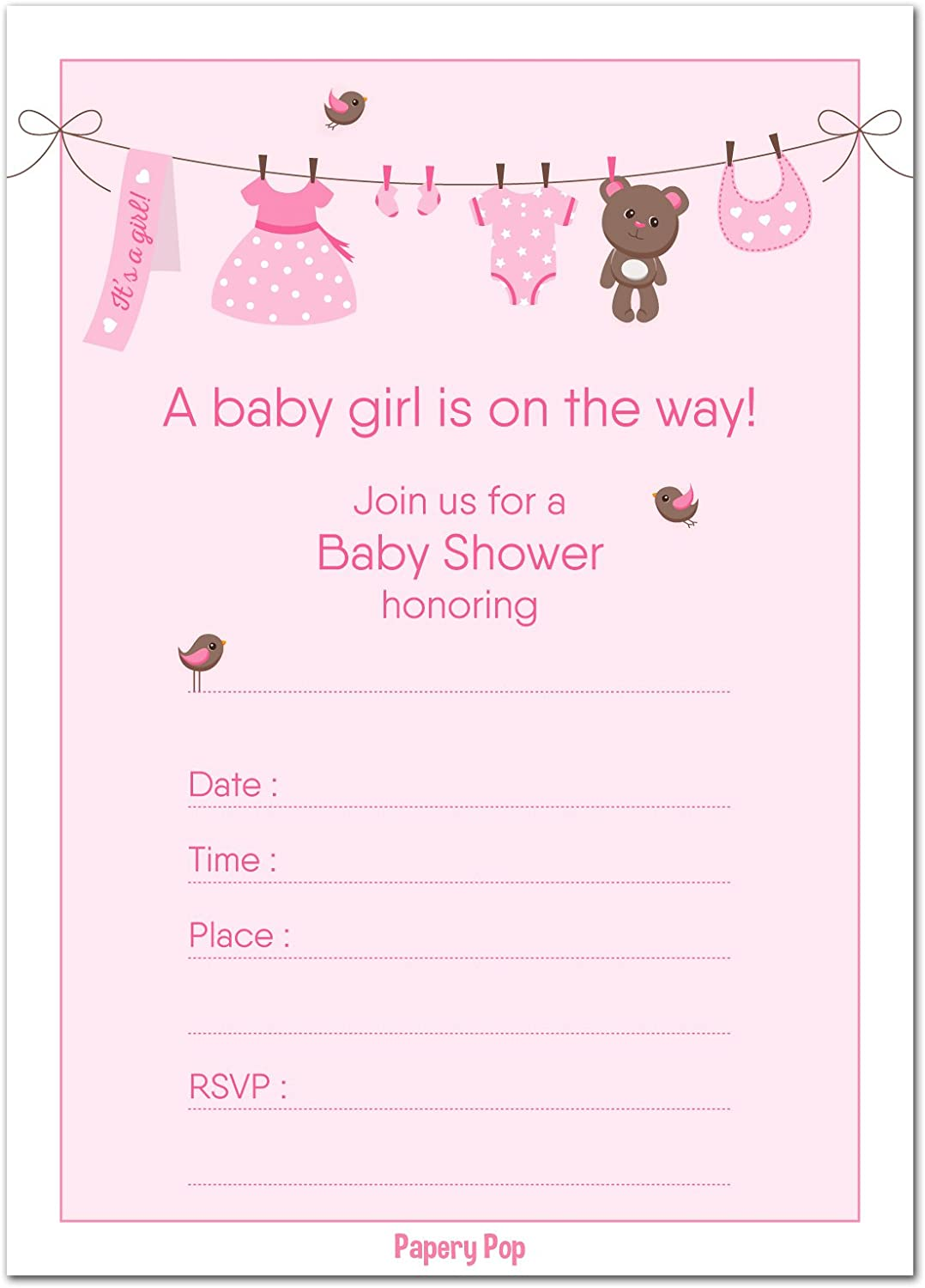 Amazon Com 30 Baby Shower Invitations Girl With Envelopes 30 Pack Baby Girl Shower Invite Cards Fits Perfectly With Pink Baby Shower Decorations And Supplies For Girls Toys Games