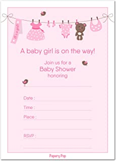 30 Baby Shower Invitations Girl (with Envelopes)   Baby Girl Shower Invite  Cards