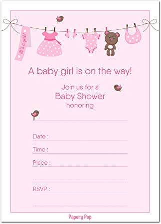 AmazonCom  Baby Shower Invitations Girl With Envelopes  Baby