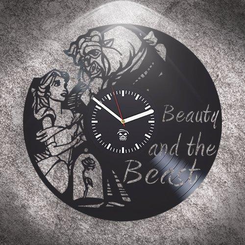 Kovides Belle Movie 2017, Beauty And The Beast, Wall Clock Large, Birthday Gift For Kids, Vinyl Wall Clock, Handmade, Best Gift For Girl, Vinyl Record, Silent Mechanism, Wall Clock Modern by Kovides