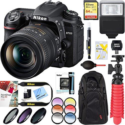 Nikon D7500 20.9MP DX-Format Digital SLR Camera with AF-S 16-80mm f/2.8-4E ED VR Lens + 64GB Memory & Deluxe Accessory Bundle