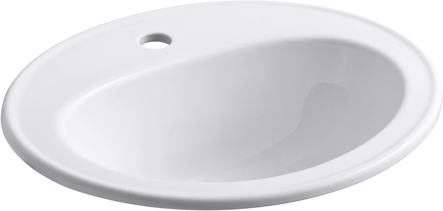 KOHLER K-2196-1-0 Pennington Self-Rimming Bathroom Sink, White