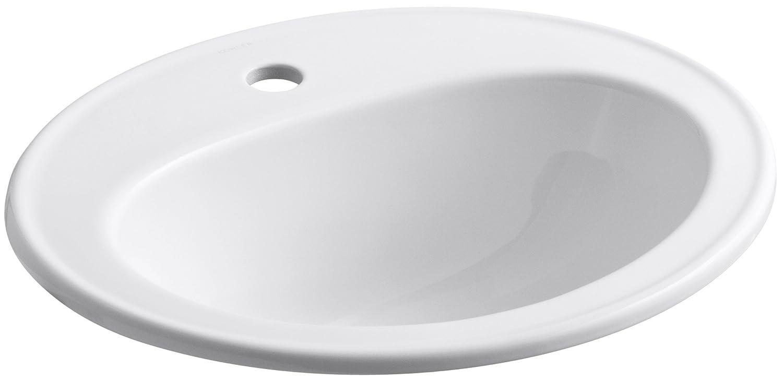 KOHLER K-2196-1-0 Pennington Self-Rimming Bathroom Sink, White