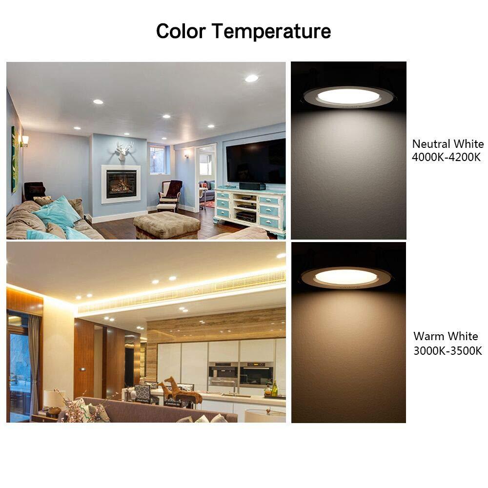 LED plafonnier encastr/é l/éger LED ultra mince rond 6WTaille de d/écoupe r/églable 5-10cm Downlight LED avec pilote LED Blanc Naturel 4000K,2 Pi/èces