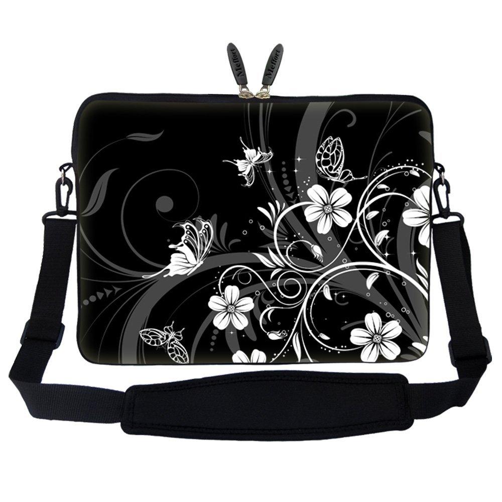 Meffort Inc 17 17.3 inch Laptop Sleeve Bag Carrying Case with Hidden Handle and Adjustable Shoulder Strap - Dark Purple Butterfly Design ZStrap2702