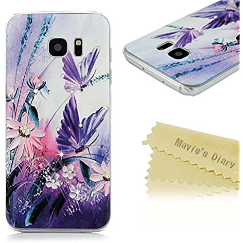 S7 Edge Case,Galaxy S7 Edge Case - Mavis's Diary 3D Handmade Bling Crystal Shiny Diamonds Rhinestone with Purple Butterfly Flowers Pattern Clear Hard PC Sales