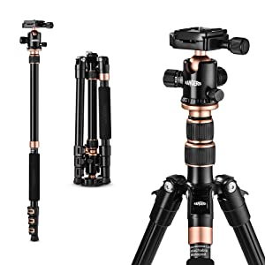 "Rangers 55"" Ultra Compact and Lightweight Aluminum Tripod with 360° Panorama Ball head, ideal for travel and work"