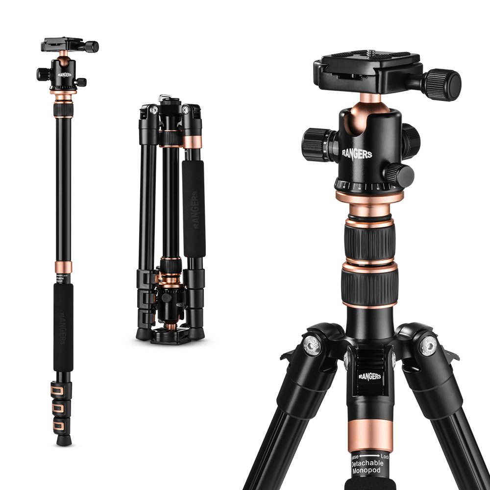 "Rangers 57"" Ultra Compact and Lightweight Aluminum Tripod with 360° Panorama Ball head, ideal for travel and work"