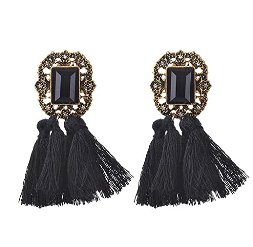 Pendientes de borlas de lana Piedras de Strass Joyería Magnífica Retro Moda para Mujer (Negro)
