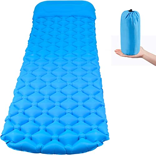 Camping Sleeping Pad, Ultralight Sleeping Mat with Pillow for Backpacking, Hiking Air Mattress, Inflatable Compact Waterproof