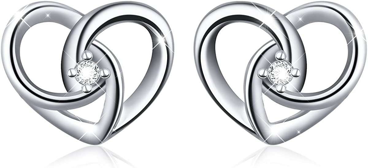 """925 Sterling Silver Jewelry""""I Love You To The Moon and Back"""" Love Heart Stud Earrings"""