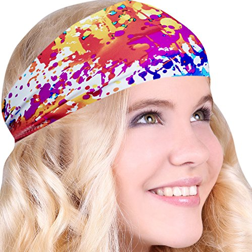 FUN & FUNKY Work Out Headbands! SUPER FUN! Splatter Paint - Choose From Over 30 Best No Slip Printed Headbands Stretchy One Size Fits Most Made in USA by Mom - Orange Paint Splatter