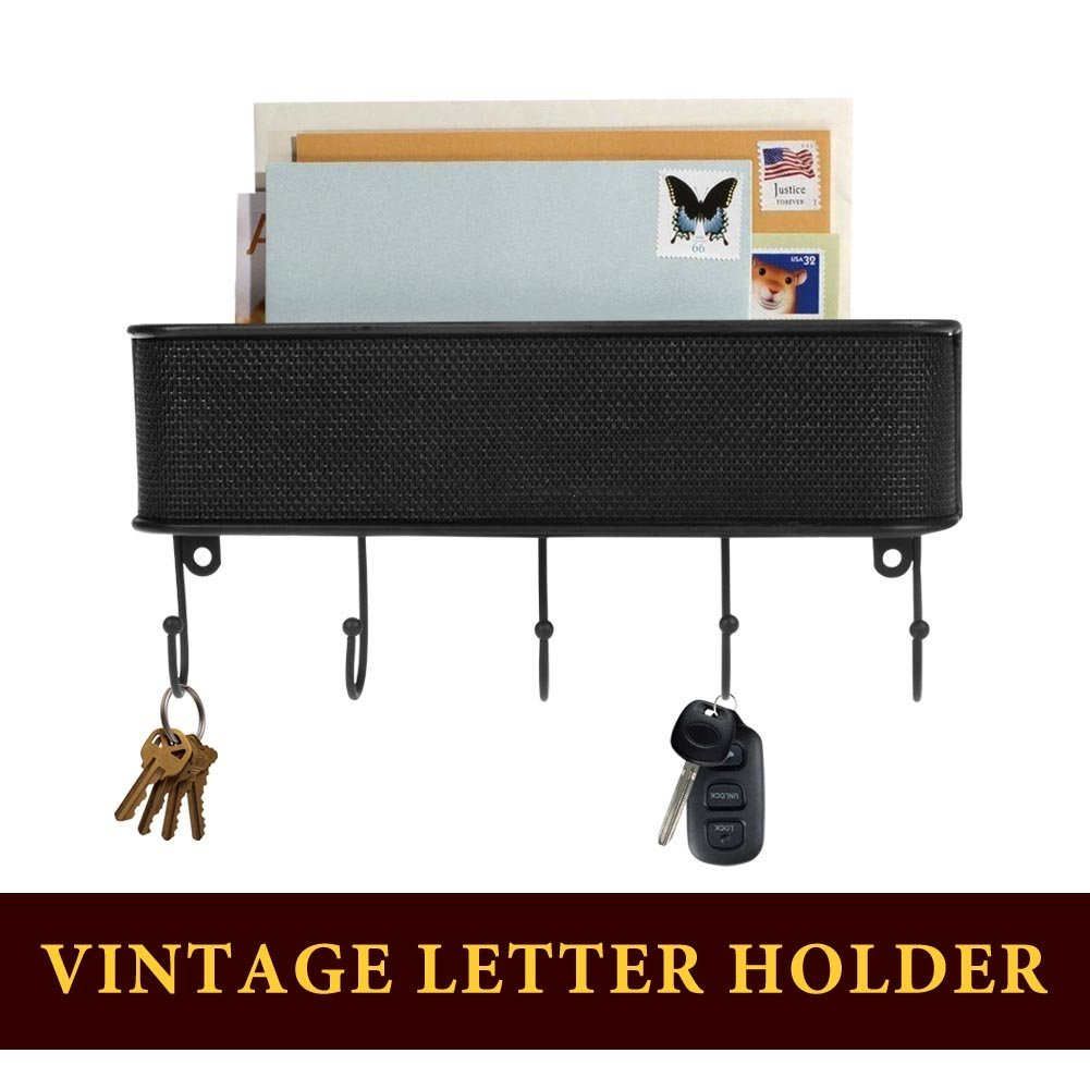 Letter Holder Mail Organizer with 5 Hooks Key Rack for Entryway, Anti Rust Wall Mount Mail Storage Basket for Kitchen Office with Hardware Screws Included