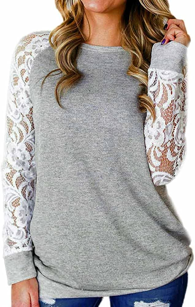 ❤Womens Long Sleeve Crewneck Shirts Ladies Cotton Casual Patchwork Lace Floral Splicing Loose Top Tunic Blouse