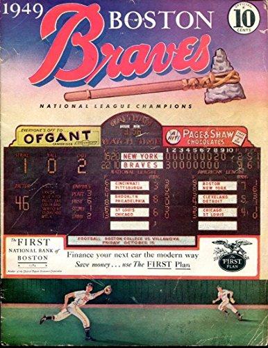 1949 Brooklyn Dodgers @ Boston Braves 7/7/49 Program Scorecard EX