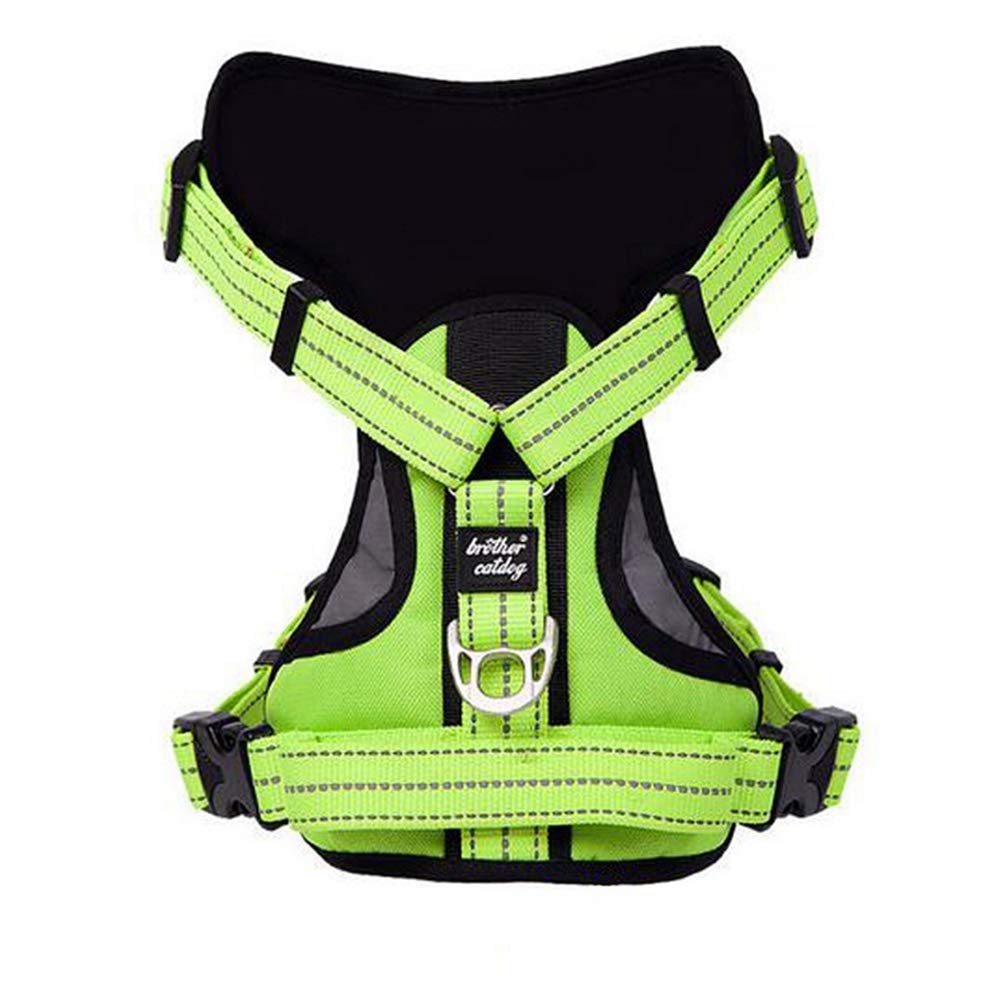 Green M Green M Jim Hugh Dog Harness Large Vest Reflective Pet Training Vests Big Dog Walk Out Leash Collars Strong Nylon Collar 3 color