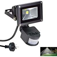 DLLT Led Motion Sensor Flood Light Outdoor 10W 800LM Pir Sensitive Security Lights Wall Fixture IP65 Waterproof Floodlight for Garage Yard Patio Pathway Porch Entryways Daylight White with AU Plug