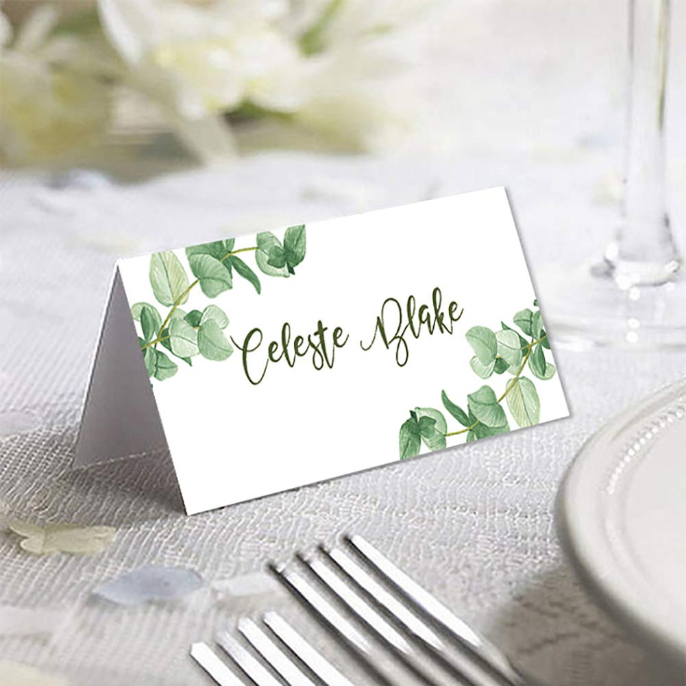 """Greenery Place Cards for Weddings or Dinner Parties 3.5/"""" x 2/"""" Name Escort Cards 50 Piece Tent Table Place Cards Printable Seating Cards Elegant Botanical Wreath Twig Design Greenery"""