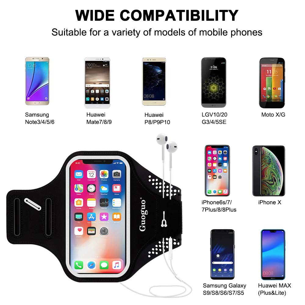 Guoguo Running Armband Case iPhone Xs Max/ 8/7,Samsung Galaxy S10/9/8,LG V30/40, Cell Phone Holder Adjustable & Skin-Friendly
