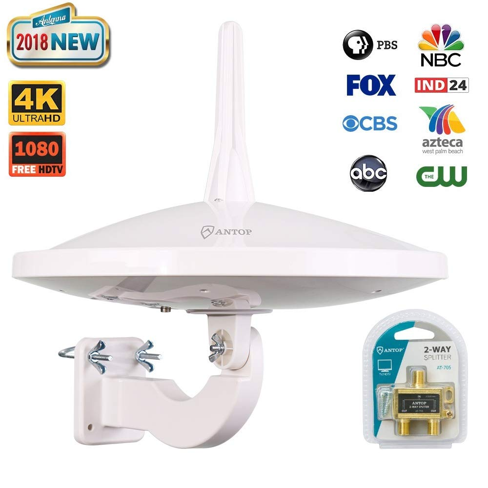 ANTOP UFO 720° Dual Omnidirectional Reception Outdoor HDTV Antenna 65 Miles with 4G LTE Filter and Smartpass Amplifier, 2-Way Splitter Fit for 2 TVs Use (33ft Coaxial Cable)