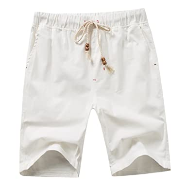 5d37c047200 Guiran Men s Linen Casual Drawstring Shorts Half Length Trousers Elasticated  Waist Bermuda Shorts Beach Pants White 2XL  Amazon.co.uk  Clothing