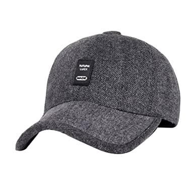 e01a7cb1b8a9a Everyday Men Casual Snapback Baseball Cap Dad Earflaps Casquette Thicken  Warm Winter Hat (Grey)  Amazon.co.uk  Clothing