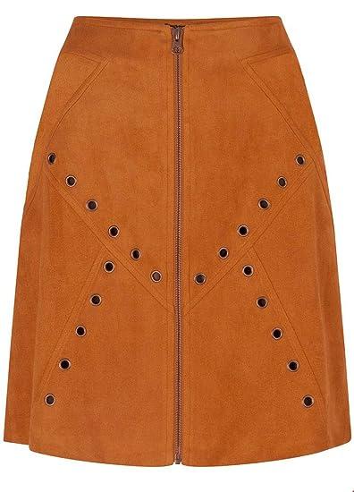 Tramontana - Falda de Ante de Color Caramelo Caramelo XS: Amazon ...