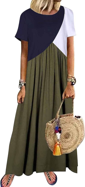 Bonny Billy Women's Causal Color Block Tunic Round Neckline Shift Dress