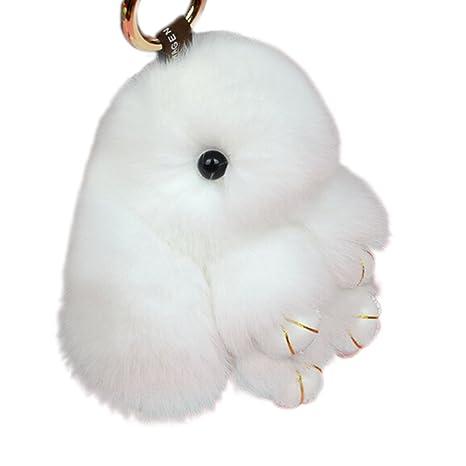 Latinaric Llavero de peluche de conejo, llavero de coche anillo dominante del coche monederos bolsos