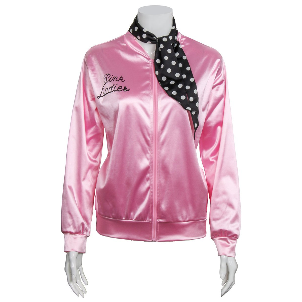 Ladies 1950s Pink Satin Jacket With Neck Scarf T Bird Women Danny Halloween Costume Fancy Dress (Large)
