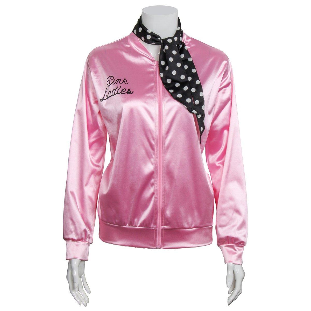 1950s Pink Satin Jacket with Neck Scarf Girls Women Danny Halloween Costume Fancy Dress (Medium)