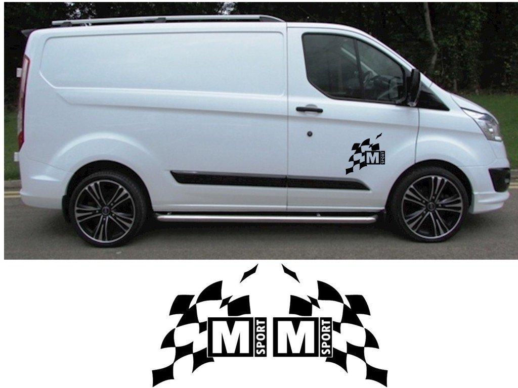 Ford transit custom m sport large graphics stickers decals fiesta st rs focus purple amazon co uk car motorbike