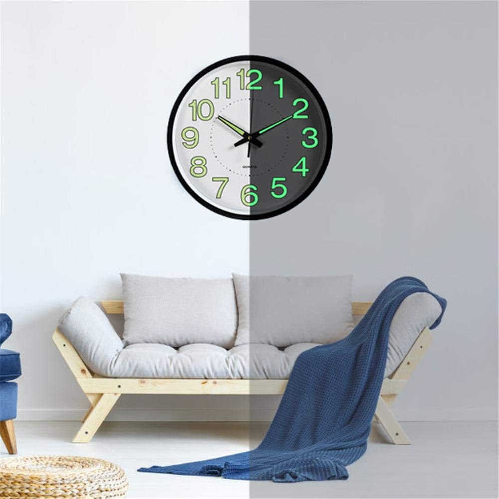 12-Inch Round Wall Clock with Silent Non-Ticking Night Lights for Indoor Kitchen by tomoyou Night Light Function