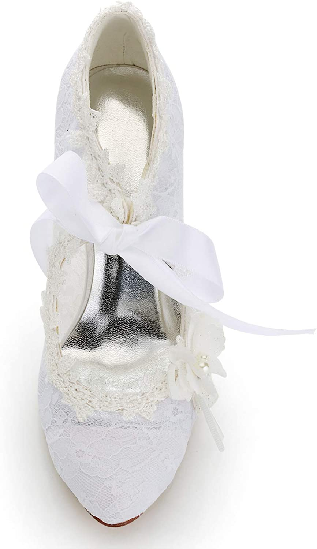 JIA JIA J16798 Womens Bridal Shoes Closed Toe High Heel Lace Satin Pumps Pearl Bowknot Ribbon Tie Wedding Shoes