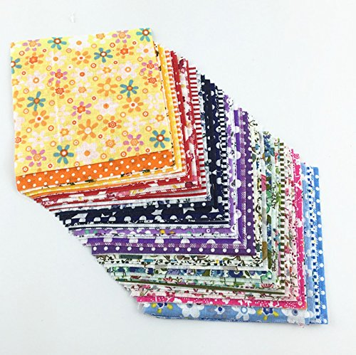 FairyTeller Color Random Delivery Cotton Fabric Charm Packs Patchwork Fabric Quilting Tilda No Repeat Design Tissue 30 Pcs/Lot 10Cmx10 Cm (Light Paint Aquamarine)