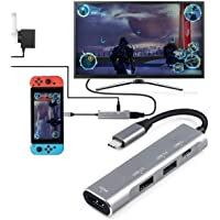 USB Type C to HDMI Digital AV Multiport Hub, USB-C (USB3.1) Adapter PD Charger for Nintendo Switch, Portable 4K HDMI Dock for Samsung Dex Station S10/9/8/Note8/9/Tab S4/S5, MacBook Pro/Air 2018, iPad Pro