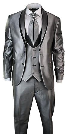 Costume Homme Coupe Slim argenté Gris Brillant 4 pièces rebords Noirs pour  Mariages et Occasions 687790180e5