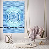 Psychedelic Ombre Mandala Cotton Poster Tapestry Indian Handmade Wall Hanging Ethnic Table Cloth , Yoga Mat , Wall Decor Throw By Handicraft-Palace