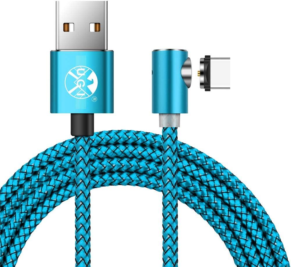 de Nailon 360 Grados UGI/® Cable de Carga USB magn/ético con indicador LED para Dispositivos Android Micro USB//Tipo C Redondo magn/ético
