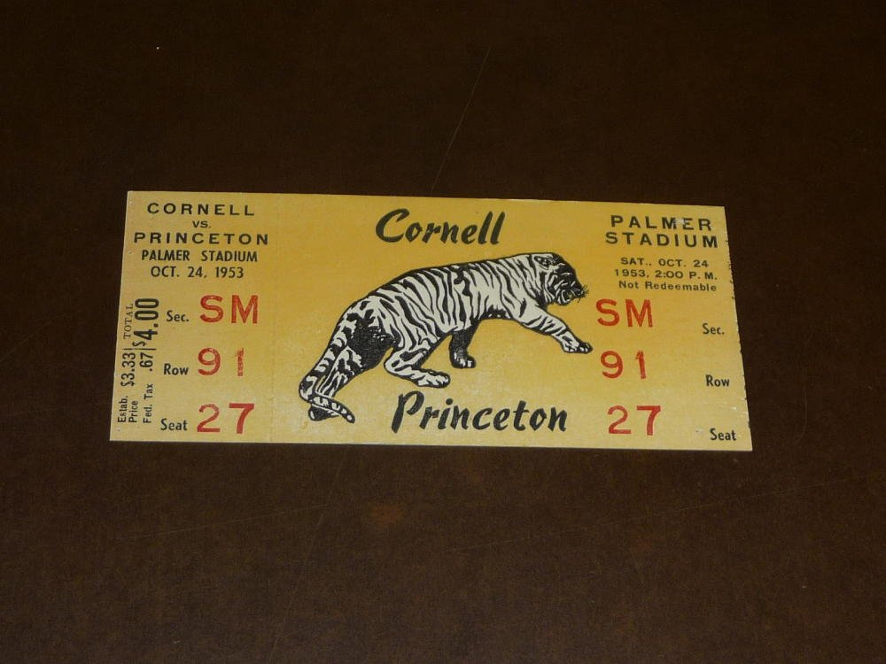 1953 CORNELL AT PRINCETON COLLEGE FOOTBALL FULL TICKET EX MINT