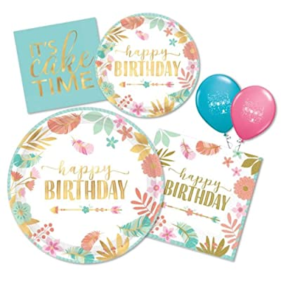 Boho Chic Birthday Girl Party Supplies Pack of Paper Plates & Napkins for 16 in Blue, Pink, Peach & Gold Metallic Foil by Amscan: Health & Personal Care