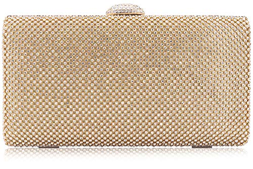 - Dexmay Large Rhinestone Crystal Clutch Evening Bag Women Clutch Purse for Cocktail Prom Party Gold