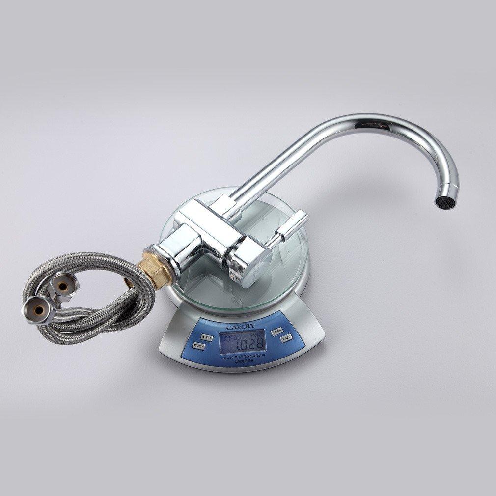Auralum Elegante Grifo Cocina 360//° Giratorio con Aireador Mezclador de Fregadero Lat/ón Cromado Caliente y Fr/ía de Agua