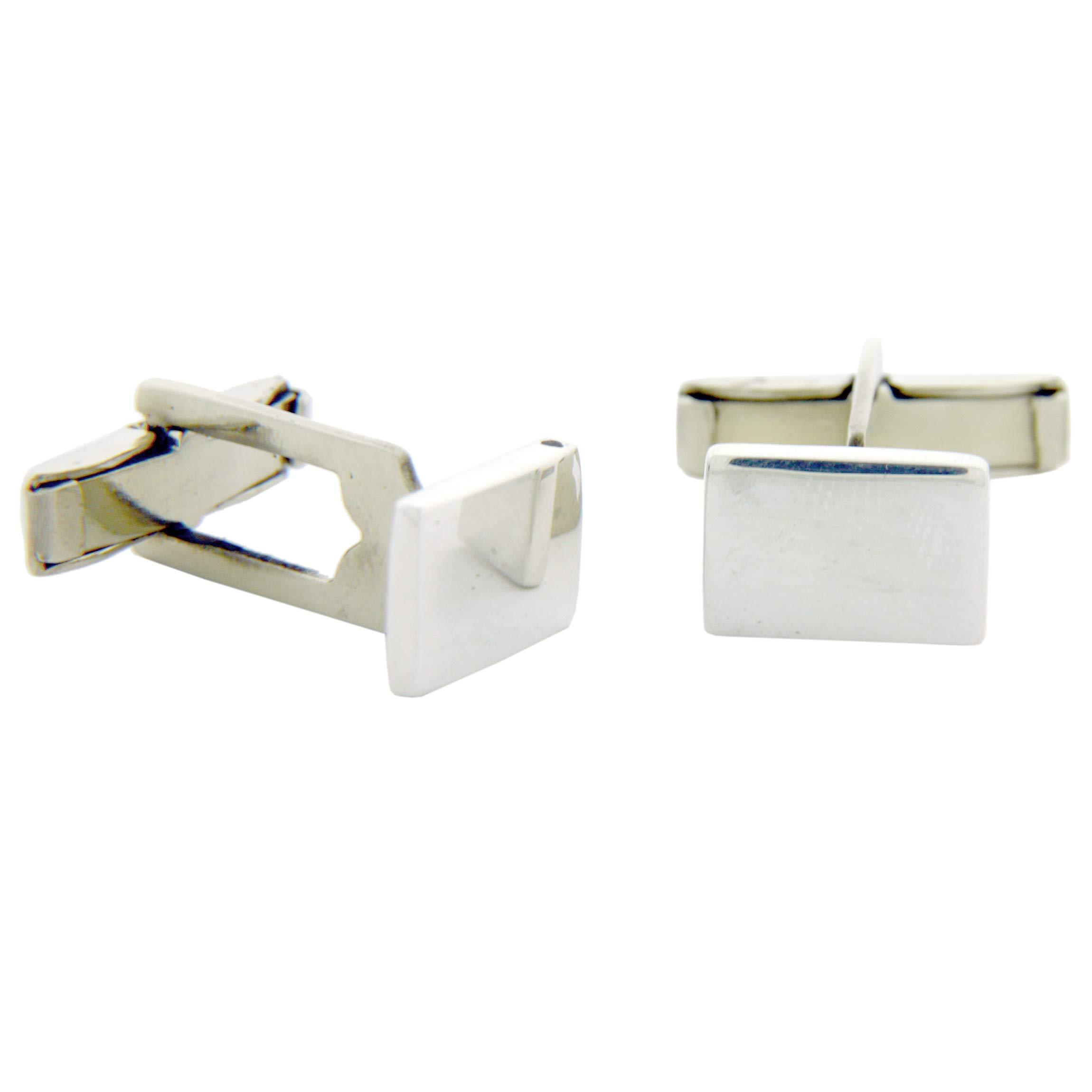 Sterling Silver Rectangular Engravable Cufflinks