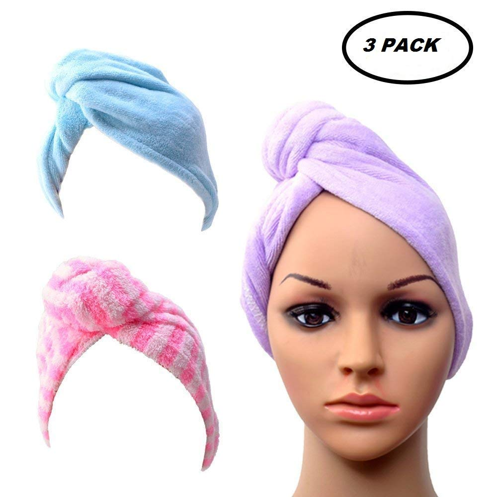 Dry Hair Towel Wrap Turban Dry Hair Cap for Bath Spa Soft Towel Reduce Hair Drying Time 3 Pack By SMYLLS Hair Drying Towel SMY-ZLQ-037
